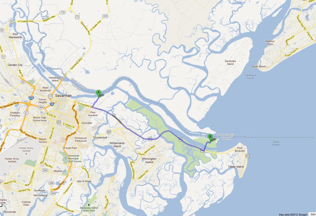 Savannah In The Civil War - Savannah river us map