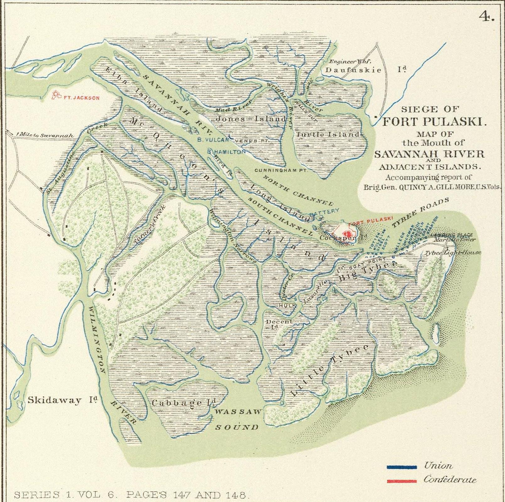 Ft Pulaski Gillmore S Battle Map April 1862
